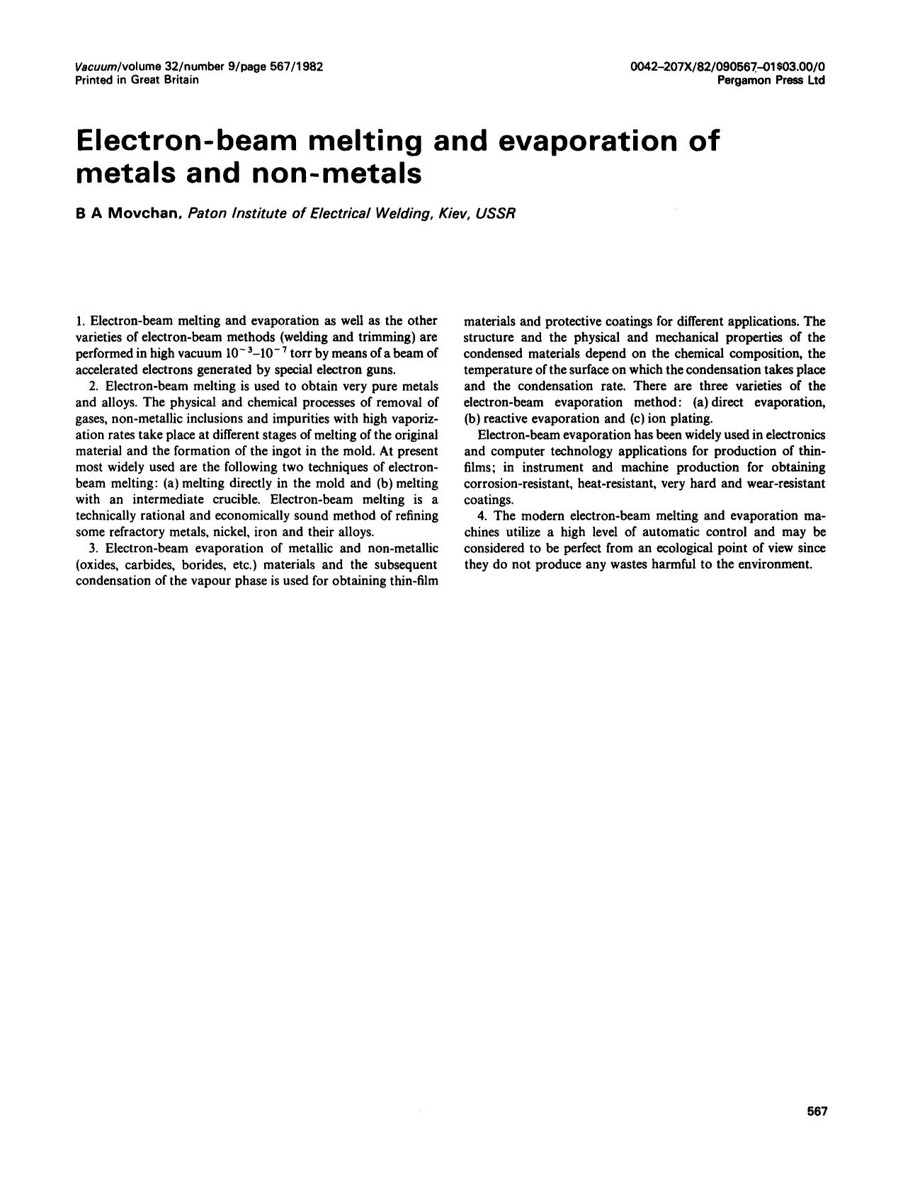 Book cover Electron-beam melting and evaporation of metals and non-metals