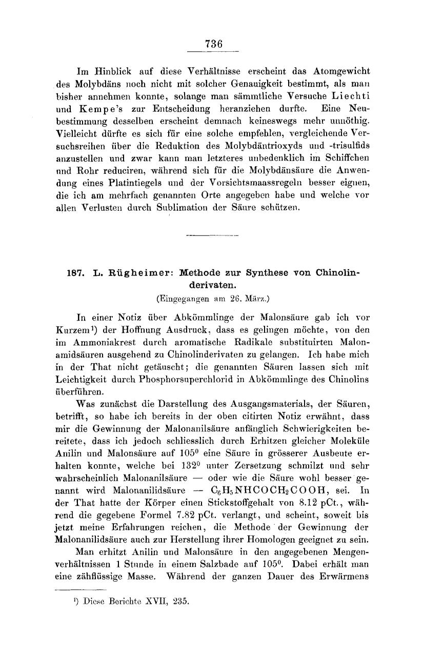 Κάλυψη βιβλίων Methode zur Synthese von Chinolinderivaten