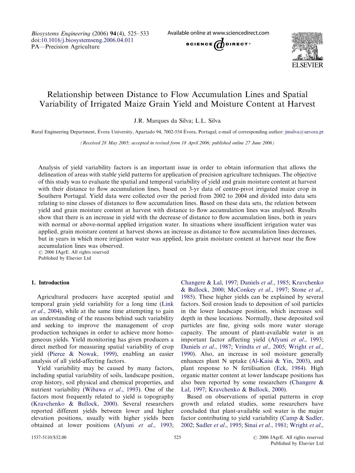 Couverture Relationship between Distance to Flow Accumulation Lines and Spatial Variability of Irrigated Maize Grain Yield and Moisture Content at Harvest