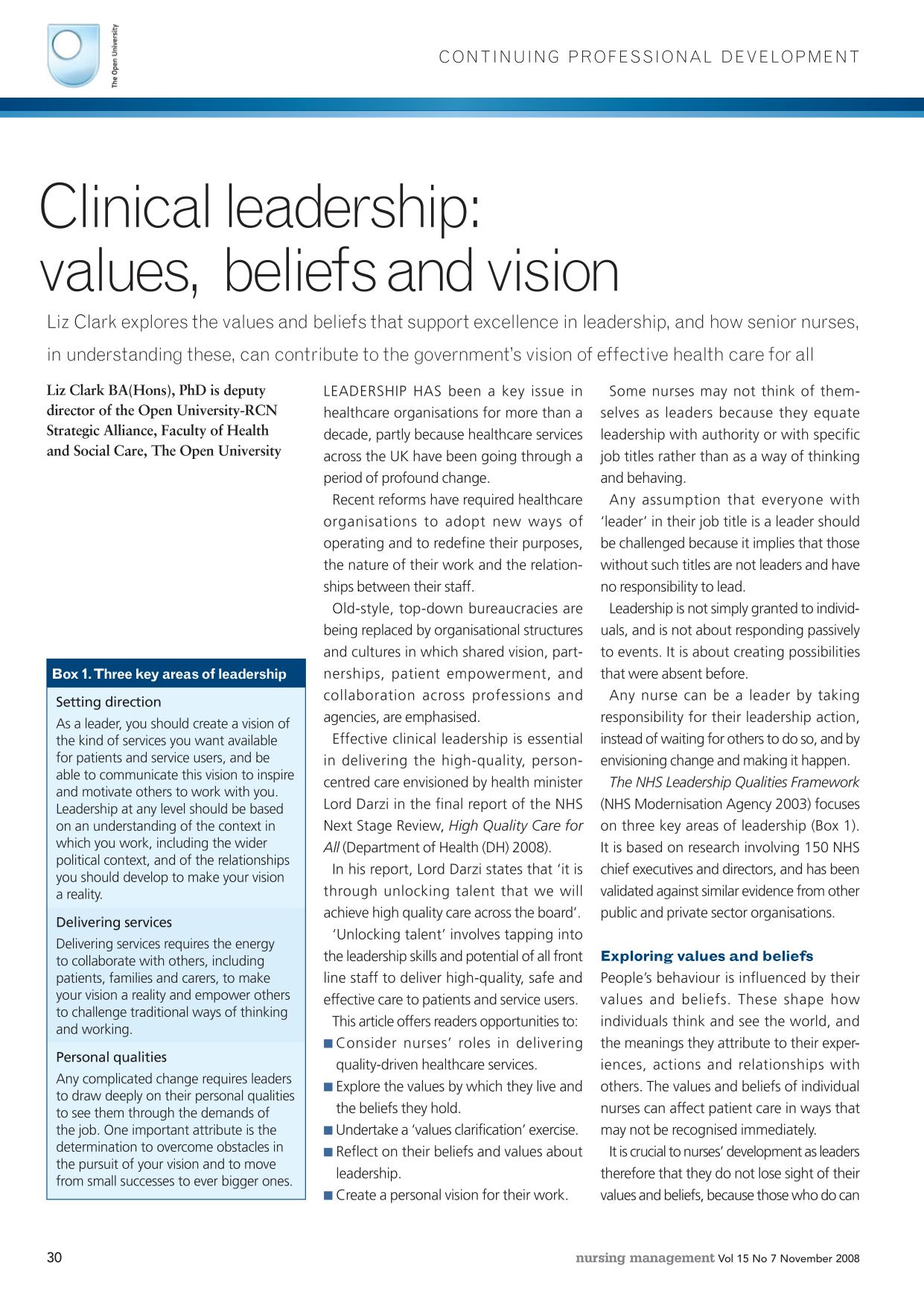 Book cover Clinical leadership: values, beliefs and vision
