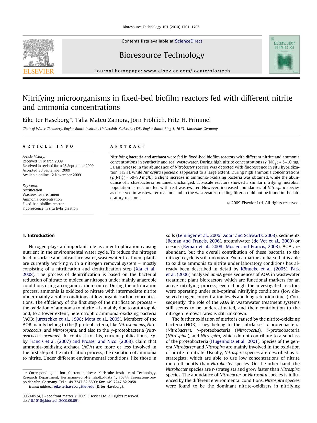 Kover buku Nitrifying microorganisms in fixed-bed biofilm reactors fed with different nitrite and ammonia concentrations