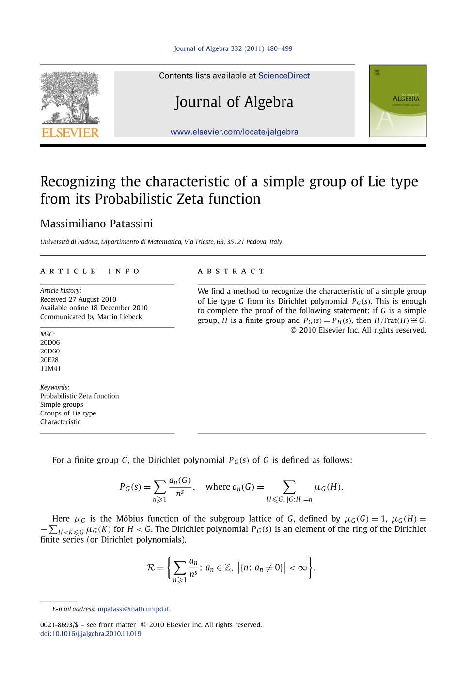 Book cover Recognizing the characteristic of a simple group of Lie type from its Probabilistic Zeta function