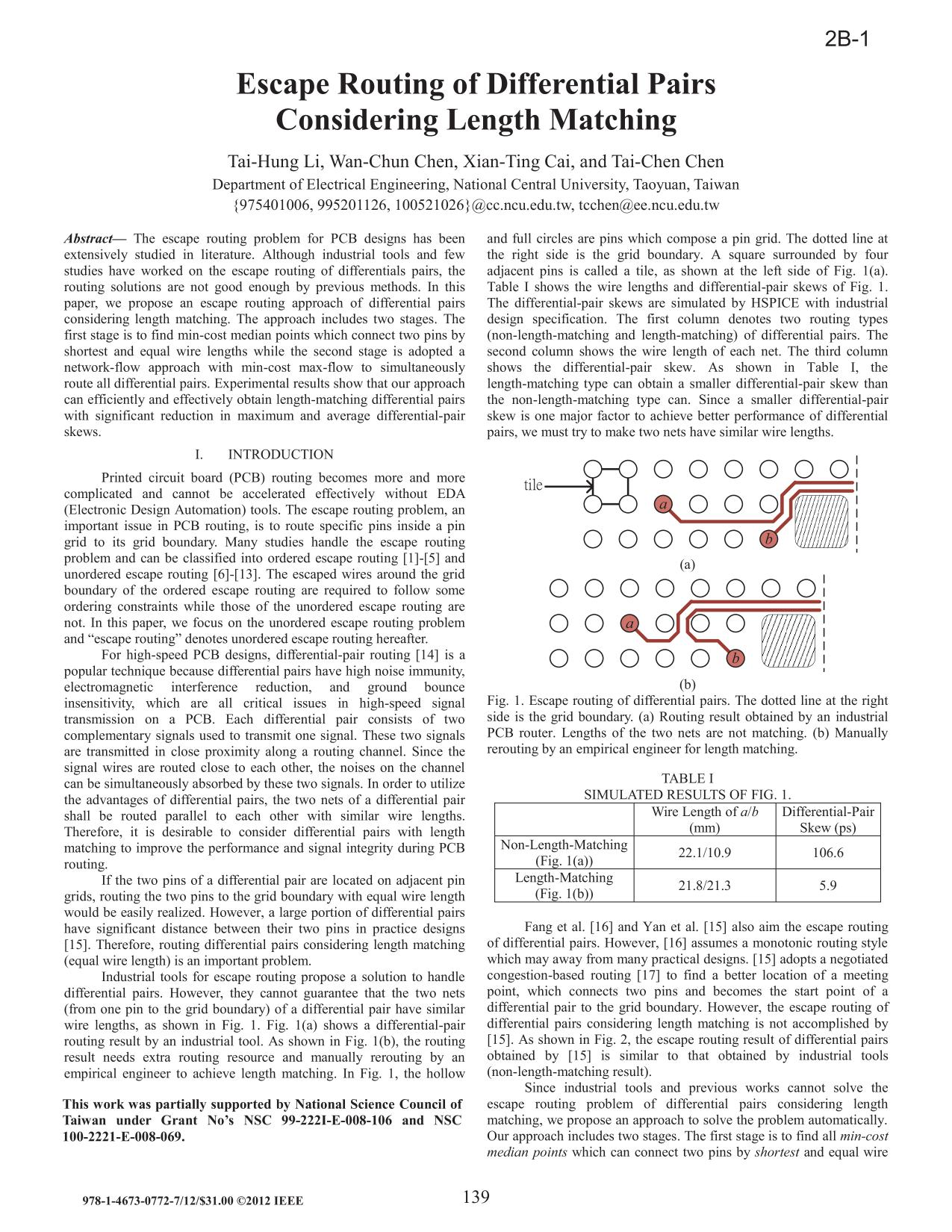 Book cover [IEEE 2012 17th Asia and South Pacific Design Automation Conference (ASP-DAC) - Sydney, Australia (2012.01.30-2012.02.2)] 17th Asia and South Pacific Design Automation Conference - Escape routing of differential pairs considering length matching