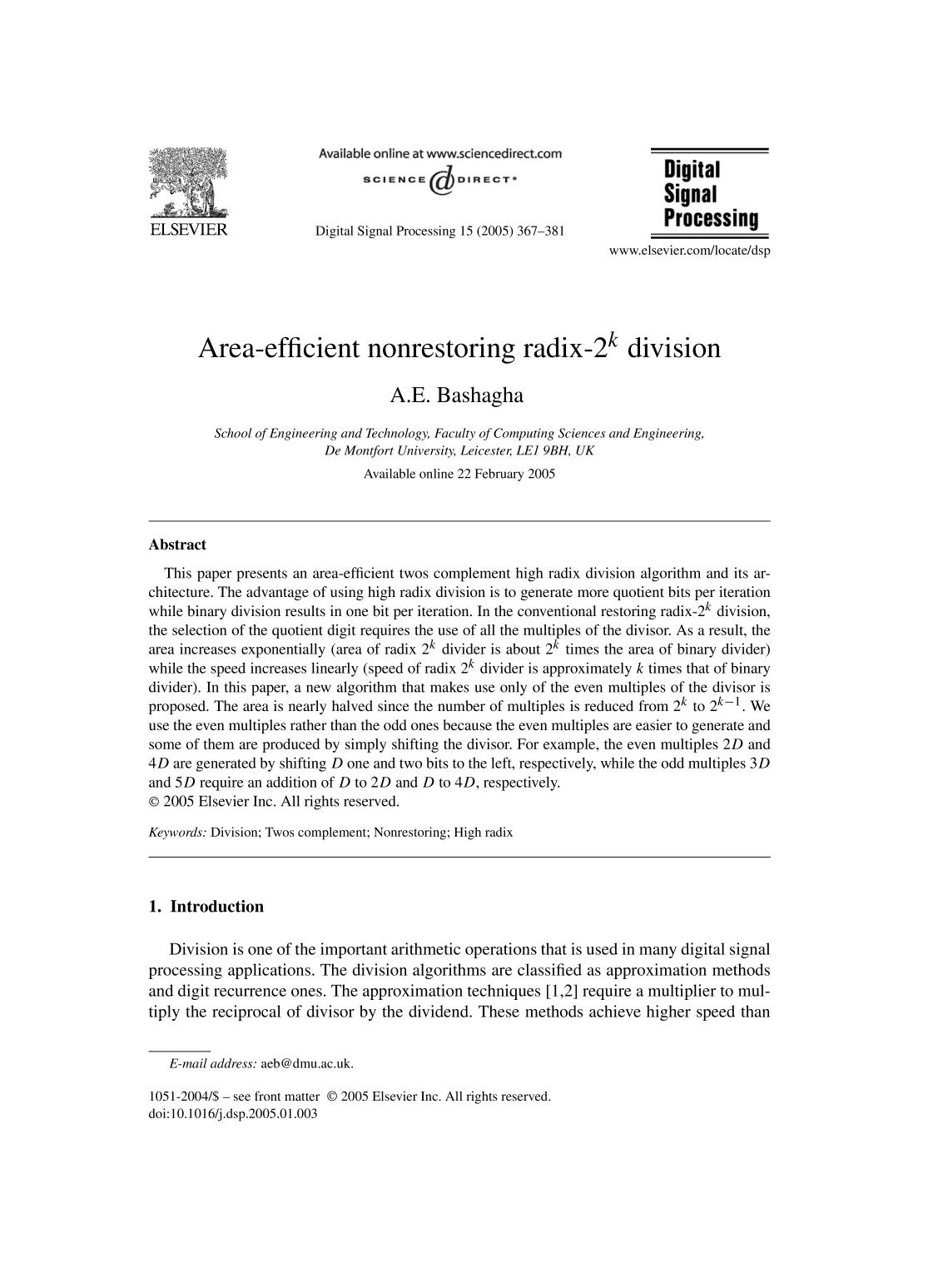 Book cover Area-efficient nonrestoring radix- division