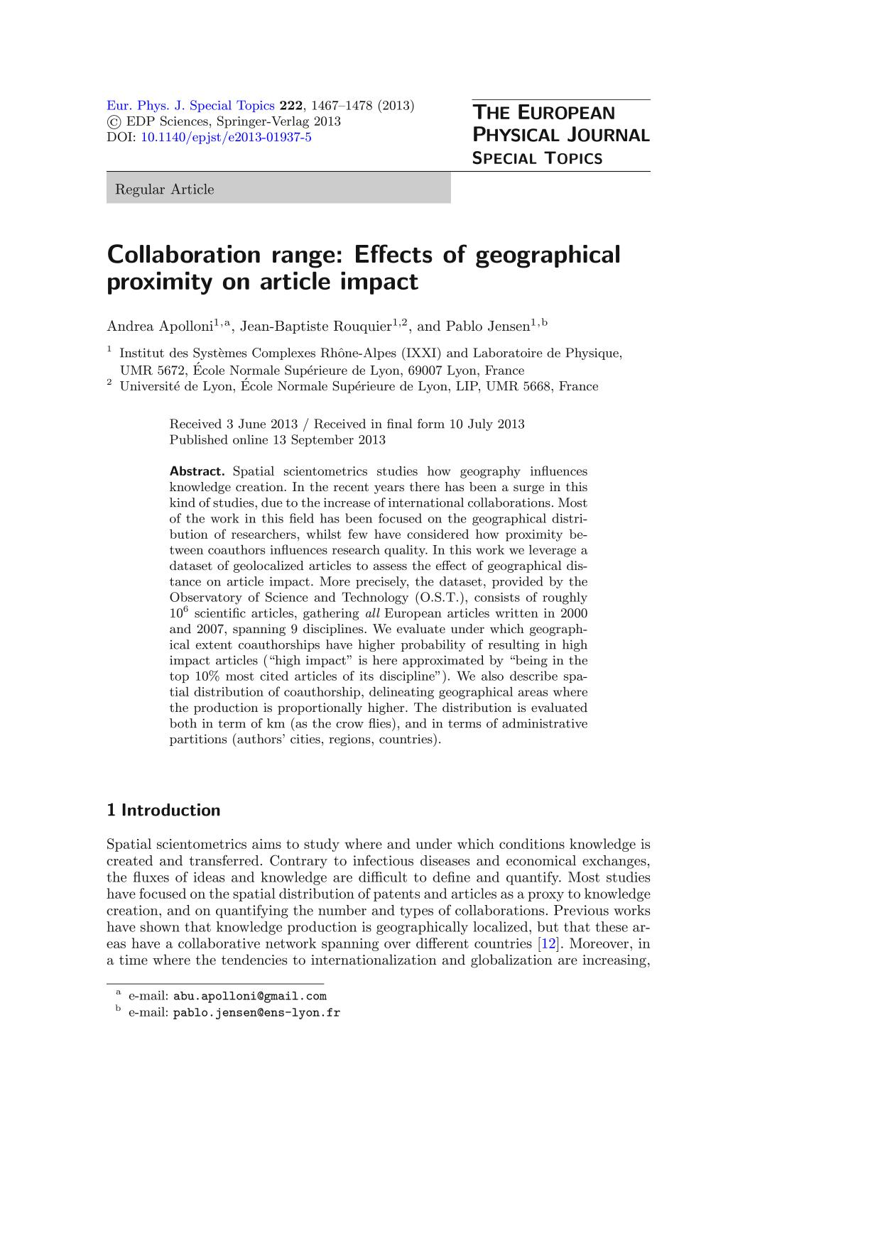 Book cover Collaboration range: Effects of geographical proximity on article impact