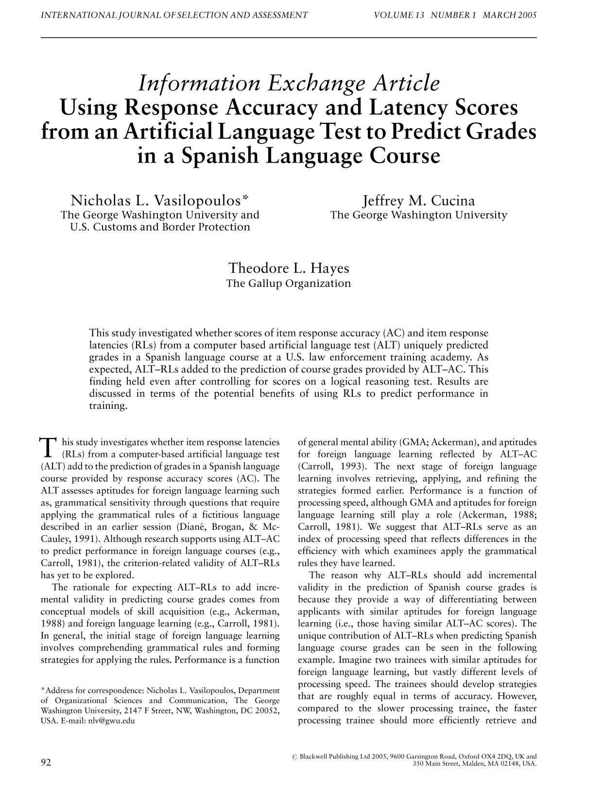 Book cover Using Response Accuracy and Latency Scores from an Artificial Language Test to Predict Grades in a Spanish Language Course