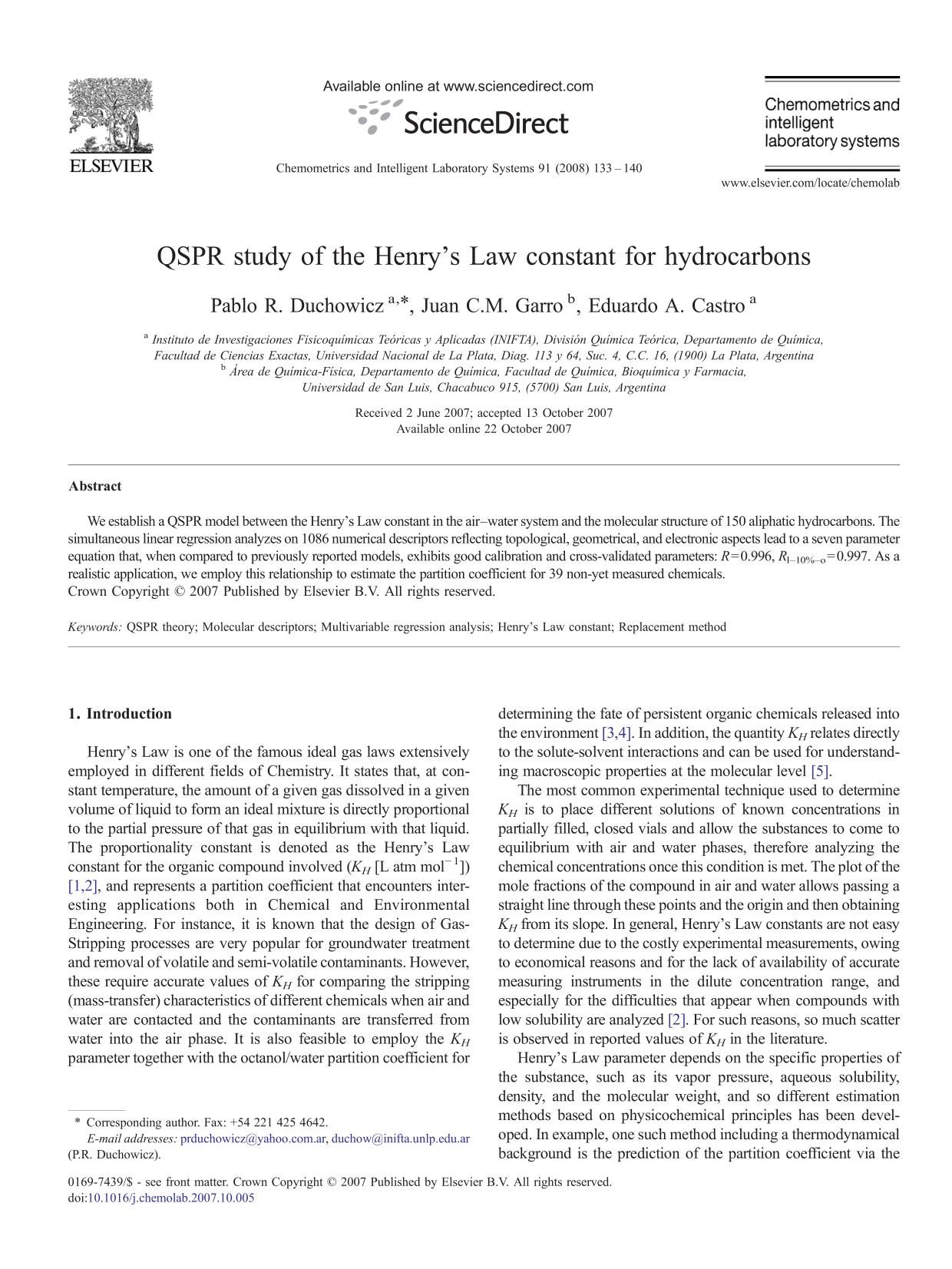 Book cover QSPR study of the Henry's Law constant for hydrocarbons
