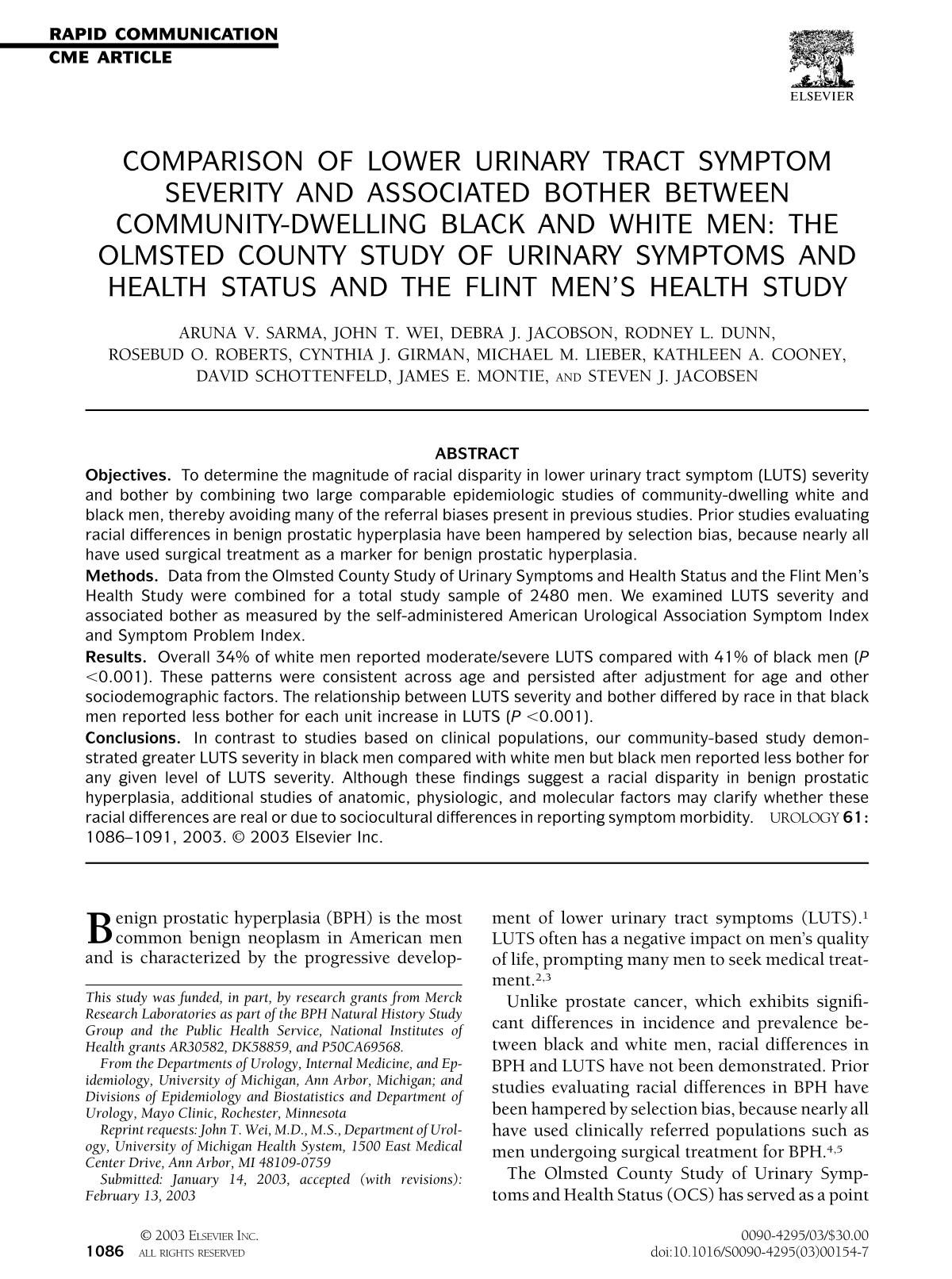 Book cover Comparison of lower urinary tract symptom severity and associated bother between community-dwelling black and white men: the Olmsted County Study of Urinary Symptoms and Health Status and the Flint Men's Health Study