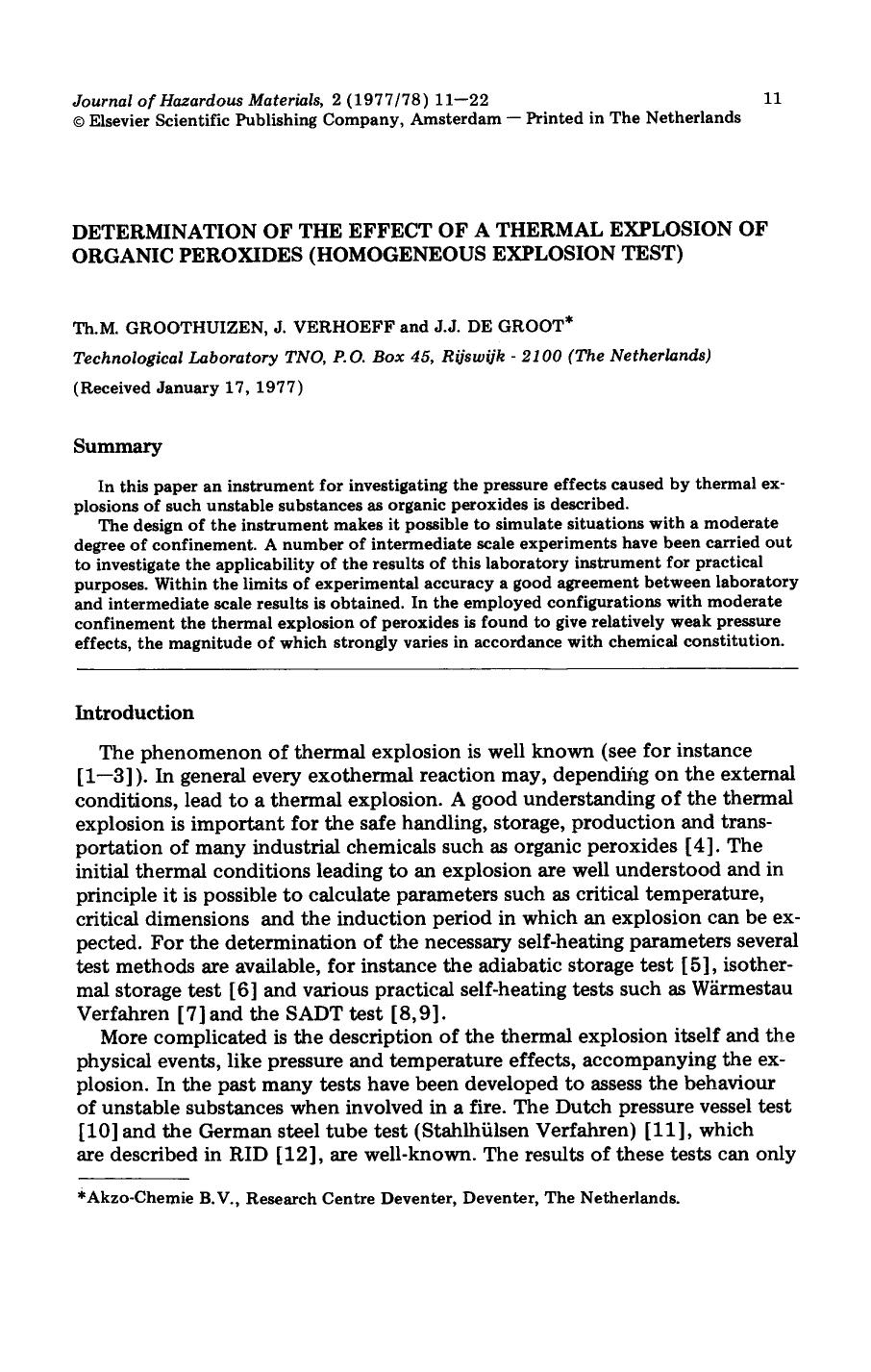 Book cover Determination of the effect of a thermal explosion of organic peroxides (homogeneous explosion test)