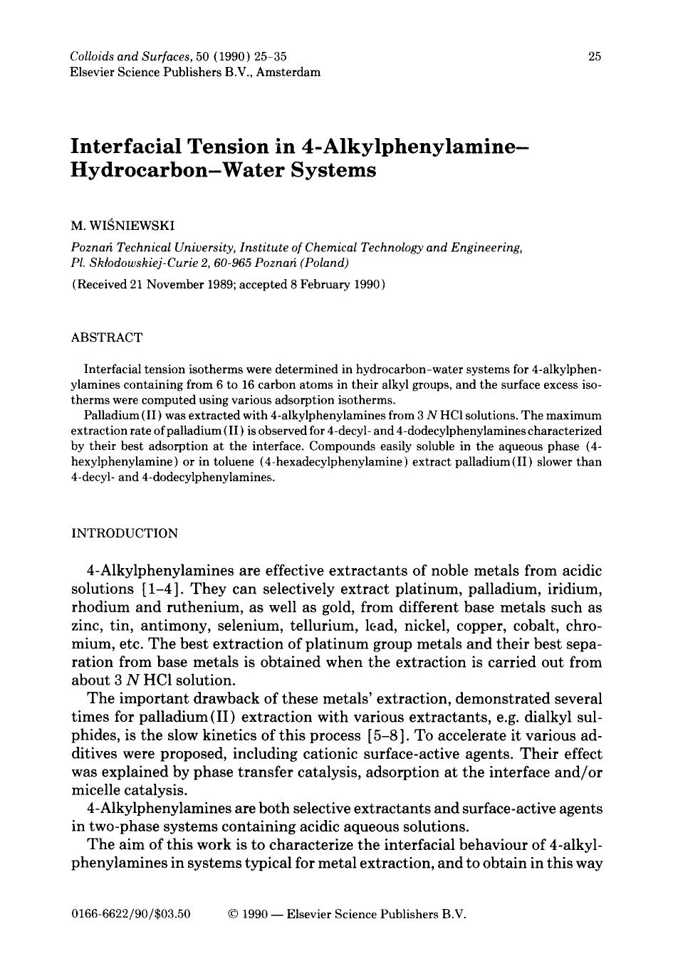 Book cover Interfacial tension in 4-alkylphenylamine—hydrocarbon—water systems
