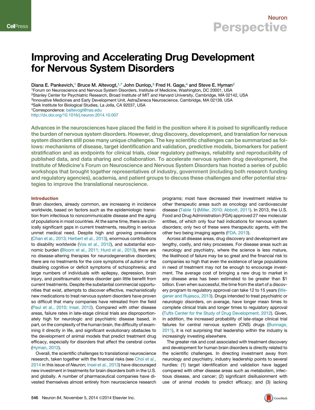 Book cover Improving and Accelerating Drug Development for Nervous System Disorders