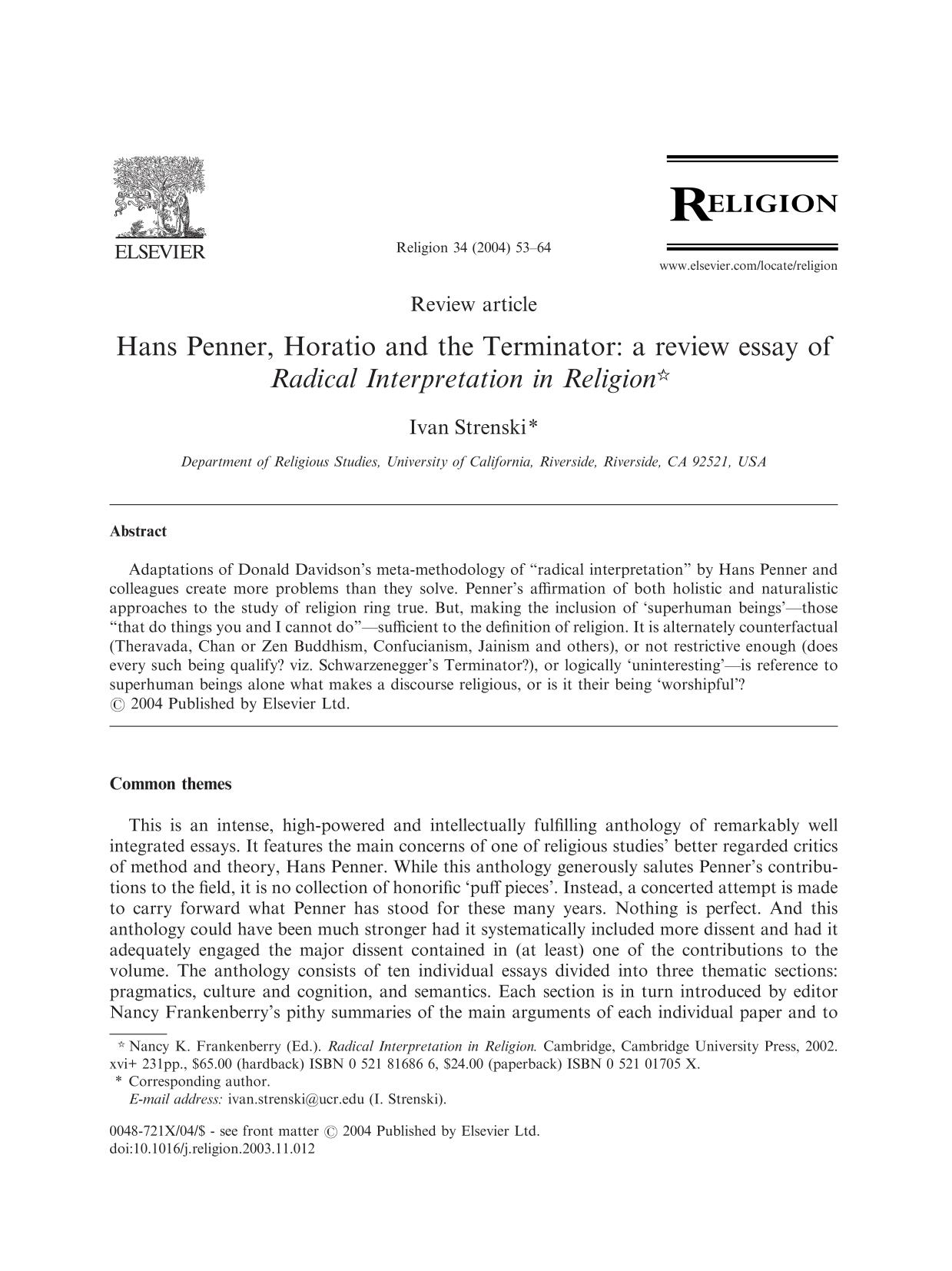 Book cover Hans Penner, Horatio and the Terminator: a review essay of Radical Interpretation in Religion