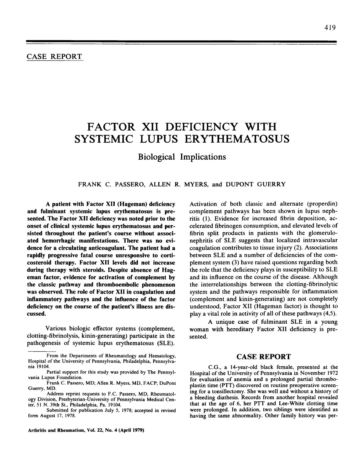 Book cover Factor xii deficiency with systemic lupus erythematosus