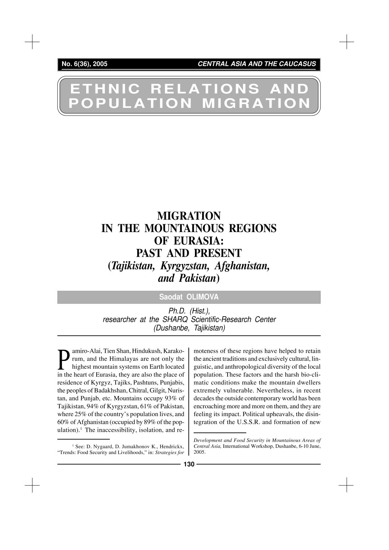 Book cover MIGRATION IN THE MOUNTAINOUS REGIONS OF EURASIA: PAST AND PRESENT (TAJIKISTAN, KYRGYZSTAN, AFGHANISTAN, AND PAKISTAN)