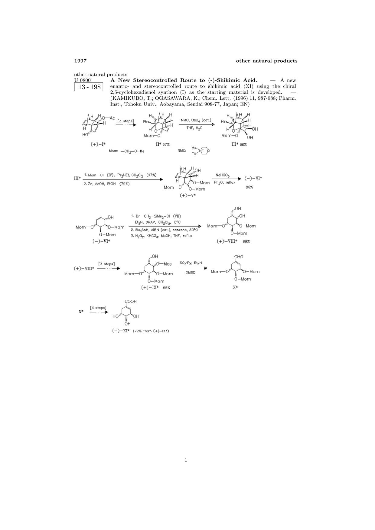 Book cover ChemInform Abstract: A New Stereocontrolled Route to (-)-Shikimic Acid.<span></span>