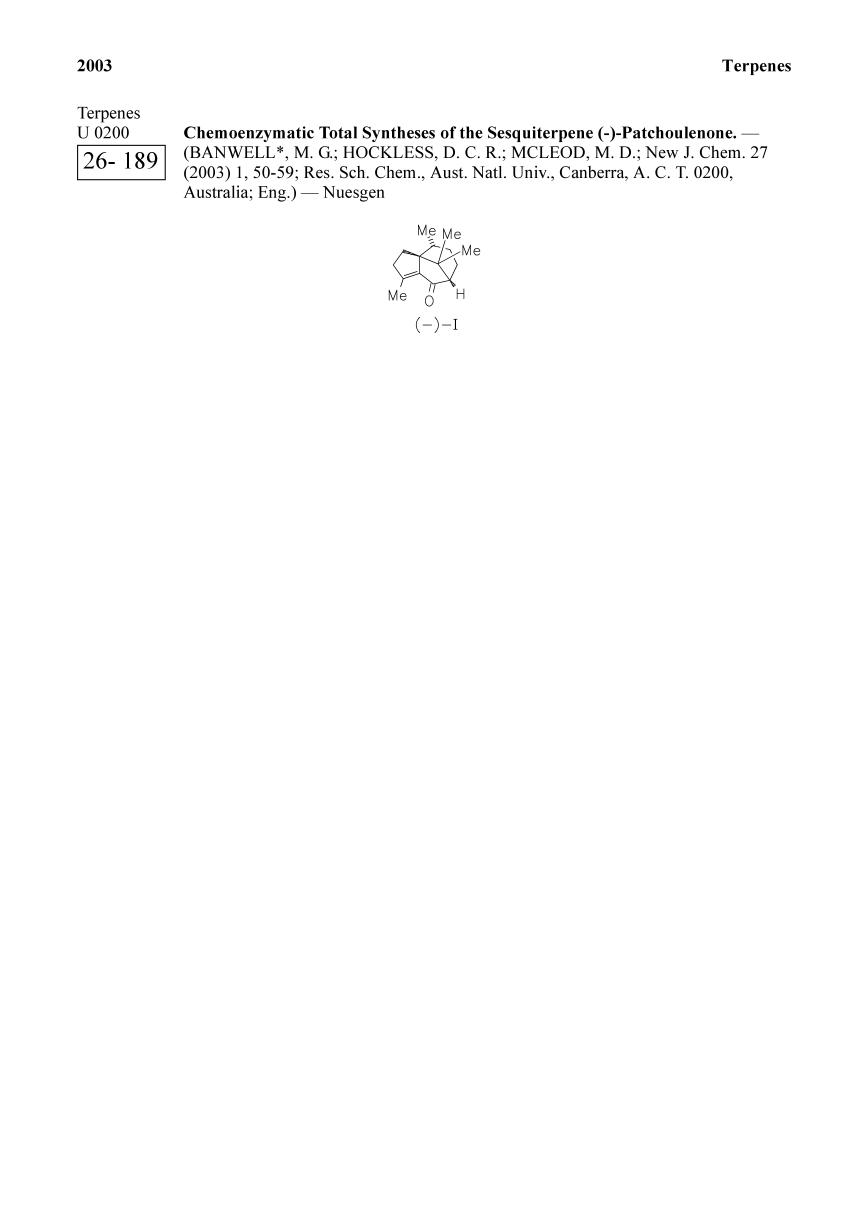 Book cover Chemoenzymatic Total Syntheses of the Sesquiterpene (-)-Patchoulenone.<span></span>