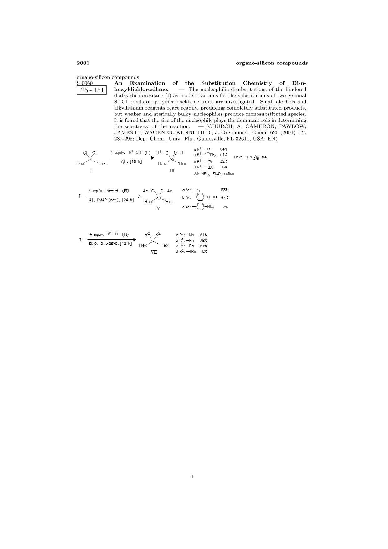 Book cover ChemInform Abstract: An Examination of the Substitution Chemistry of Di-n-hexyldichlorosilane.<span></span>