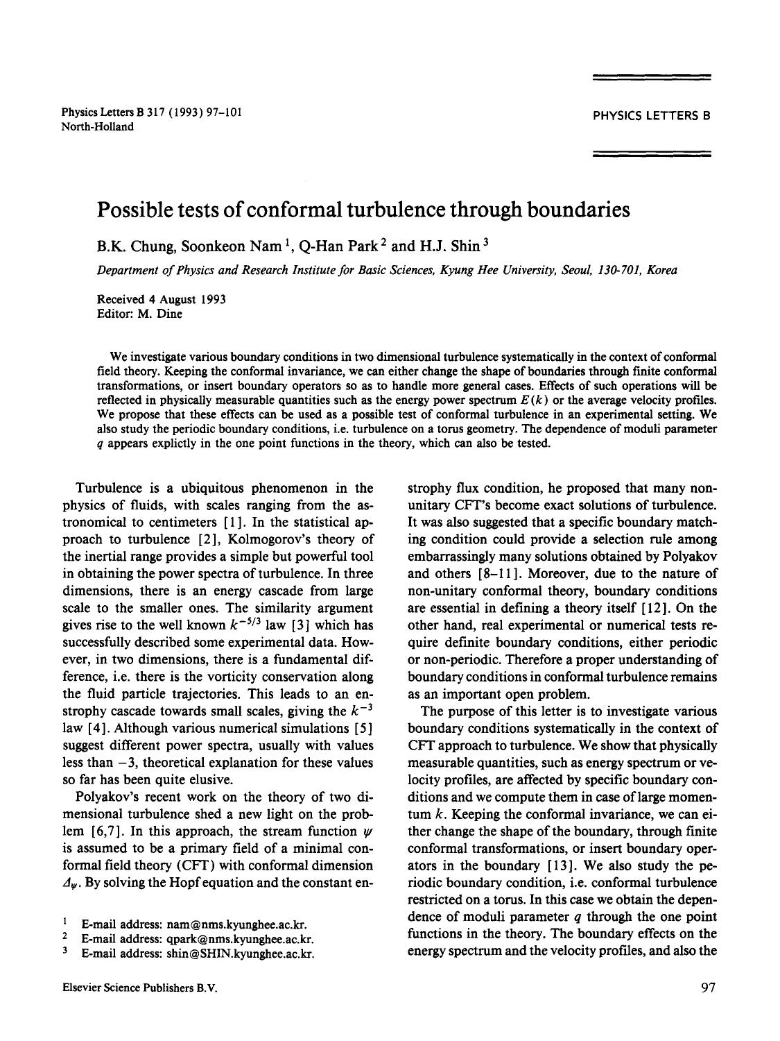 Book cover Possible tests of conformal turbulence through boundaries