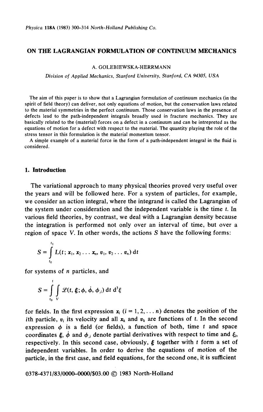 Book cover On the Lagrangian formulation of continuum mechanics