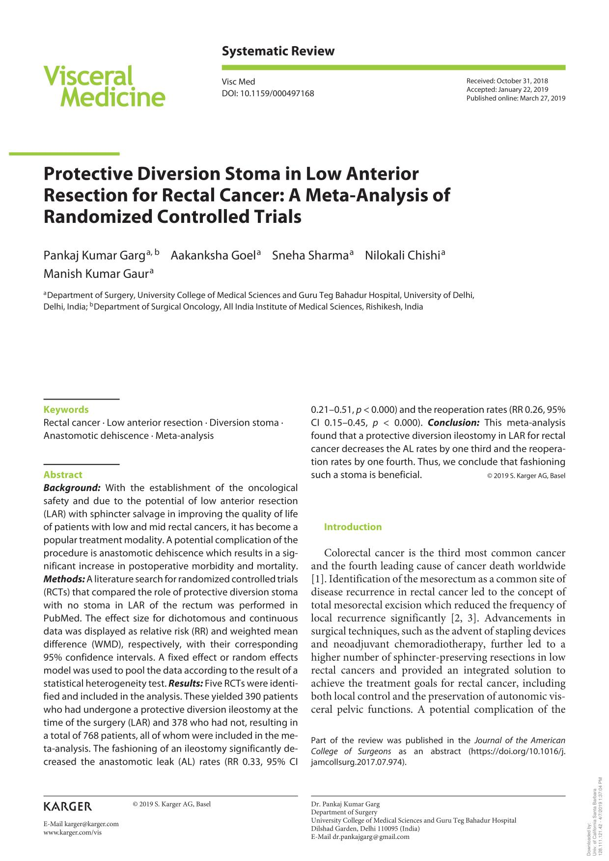 Book cover Protective Diversion Stoma in Low Anterior Resection for Rectal Cancer: A Meta-Analysis of Randomized Controlled Trials