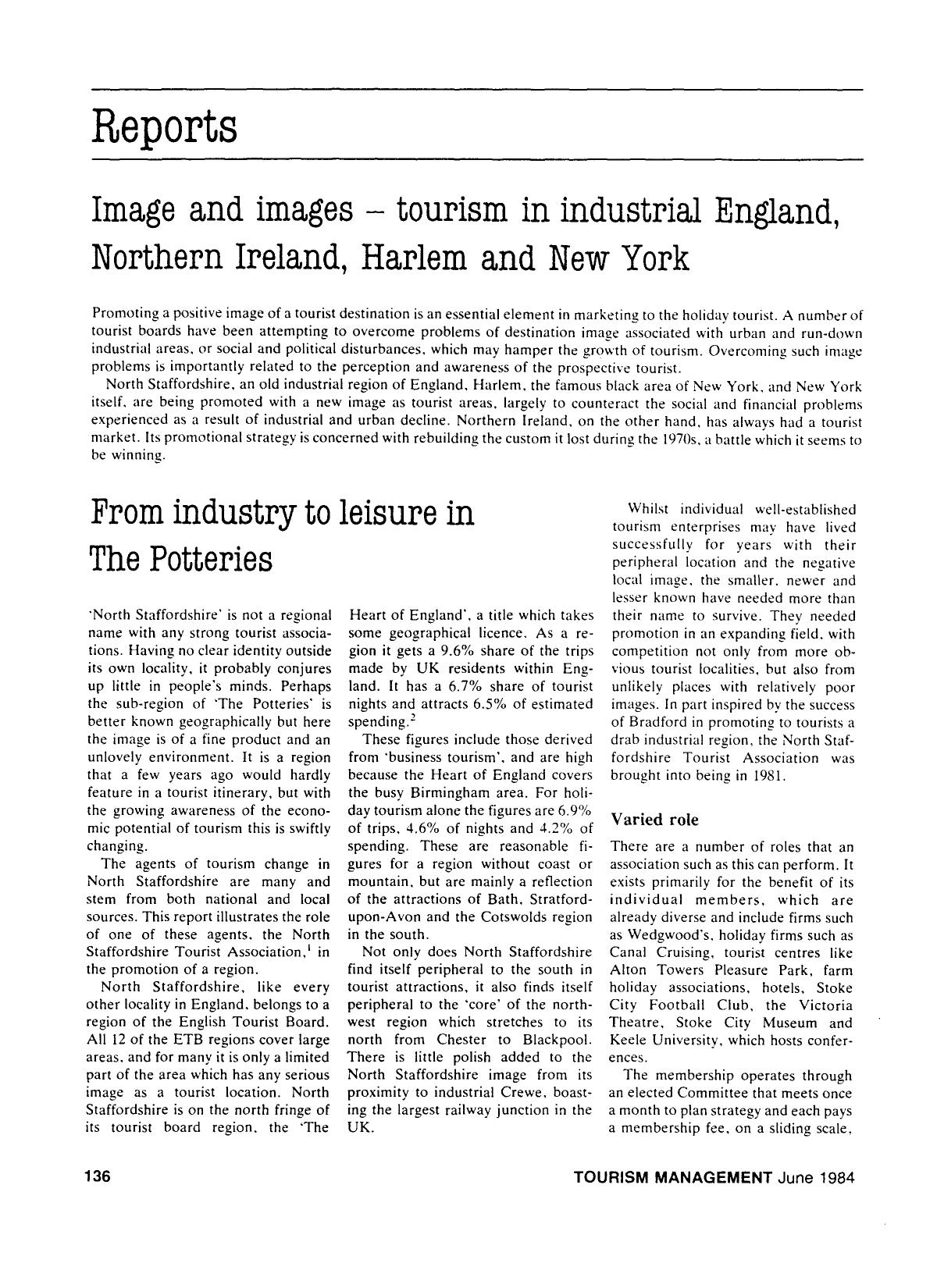 Book cover Image and images — tourism in industrial England, Northern Ireland, Harlem and New York