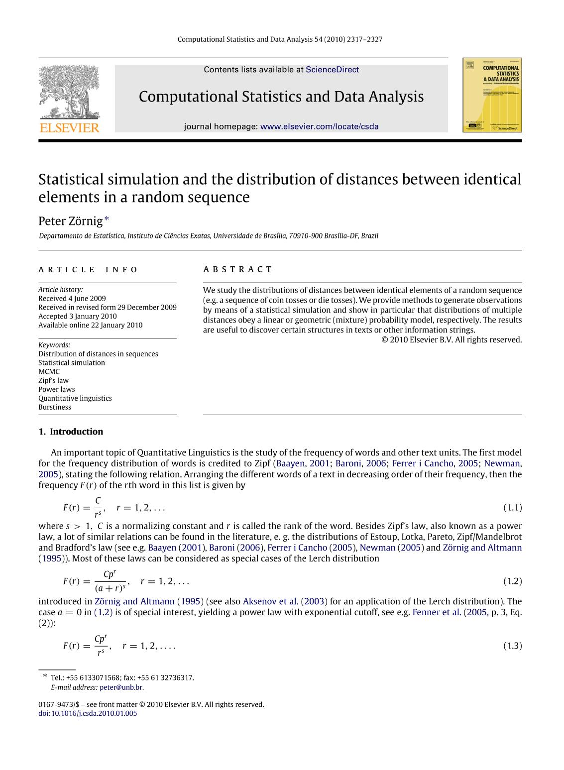 Book cover Statistical simulation and the distribution of distances between identical elements in a random sequence