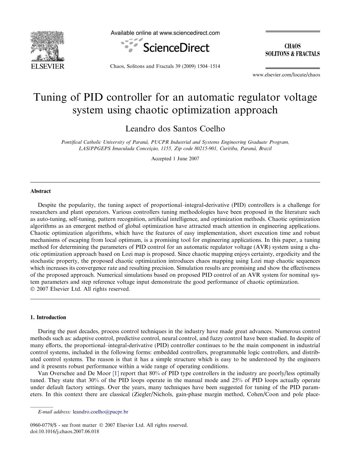 Book cover Tuning of PID controller for an automatic regulator voltage system using chaotic optimization approach