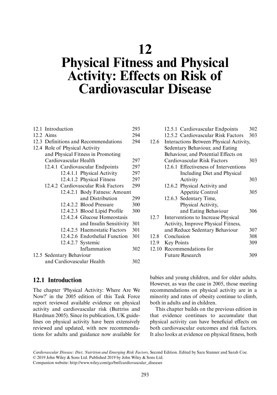 Book cover Cardiovascular Disease (Diet, Nutrition and Emerging Risk Factors) || Physical Fitness and Physical Activity