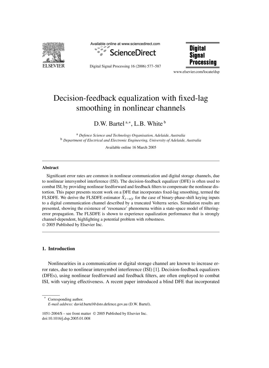 Book cover Decision-feedback equalization with fixed-lag smoothing in nonlinear channels