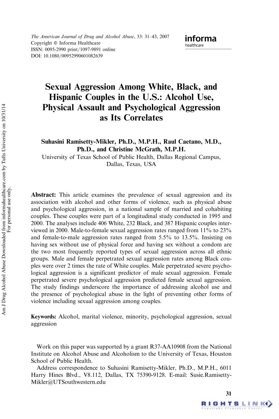 Book cover Sexual Aggression Among White, Black, and Hispanic Couples in the U.S.: Alcohol Use, Physical Assault and Psychological Aggression as Its Correlates
