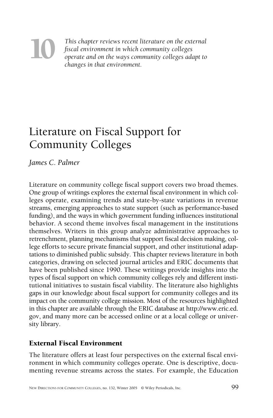Book cover Literature on fiscal support for community colleges