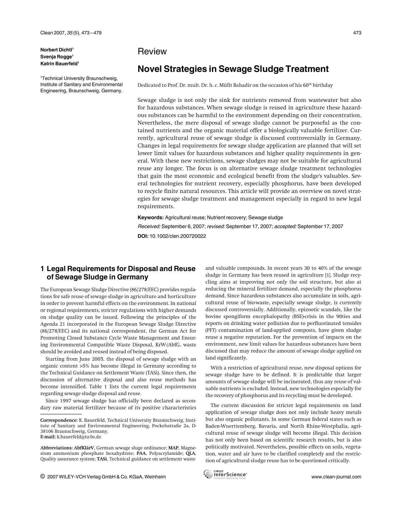 Book cover Novel Strategies in Sewage Sludge Treatment