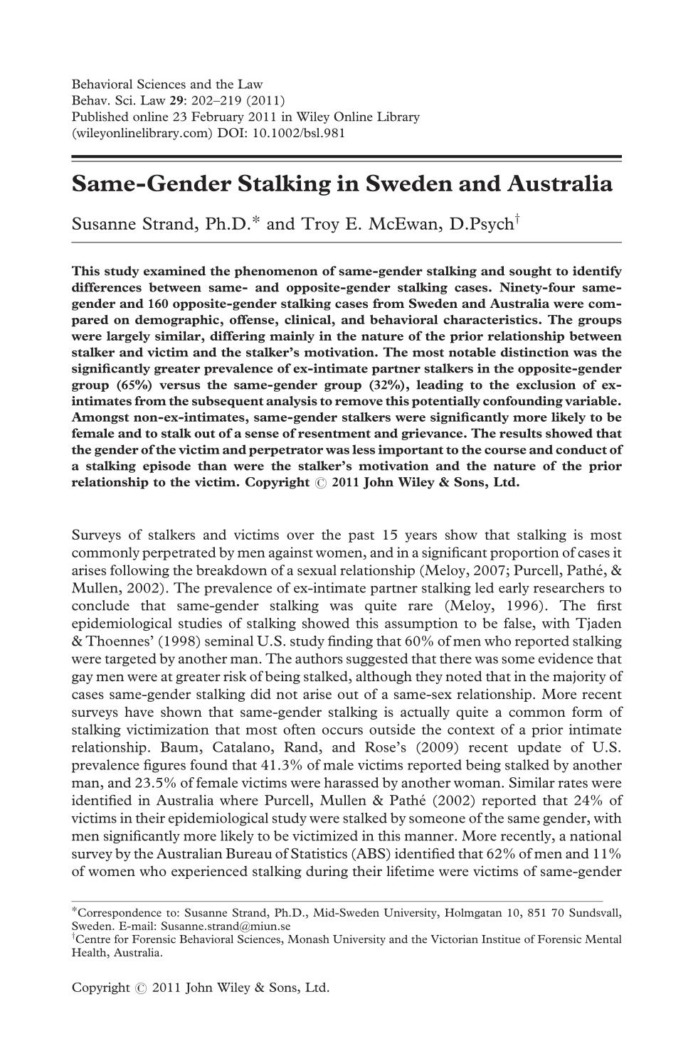 Book cover Same-gender stalking in Sweden and Australia