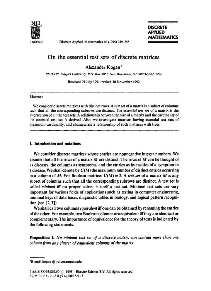 Book cover On the essential test sets of discrete matrices