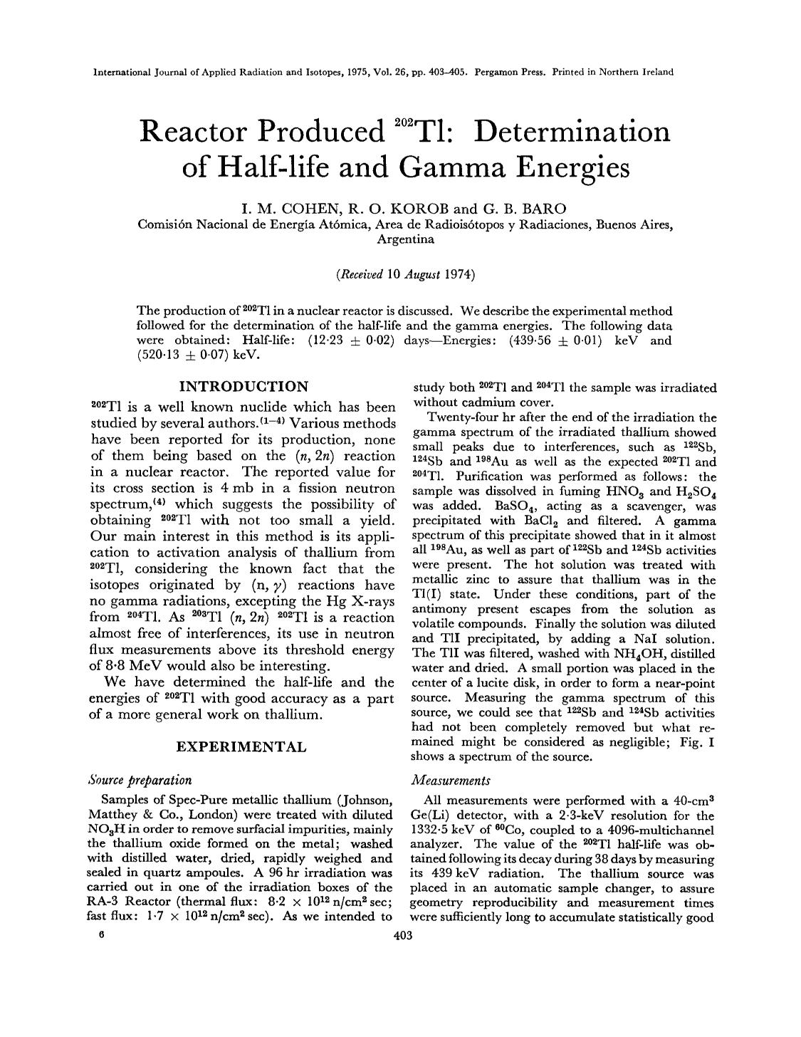 Book cover Reactor produced 202Tl: Determination of half-life and gamma energies