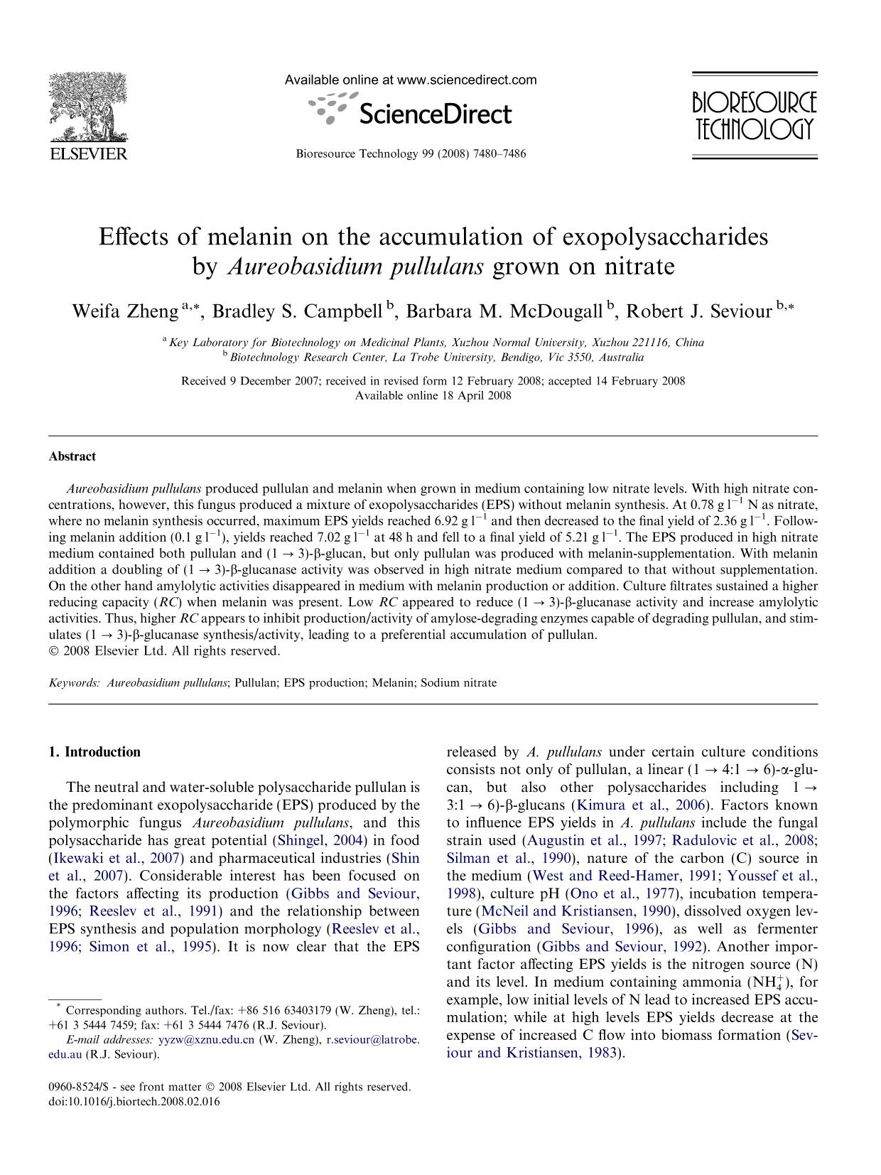 Kover buku Effects of melanin on the accumulation of exopolysaccharides by Aureobasidium pullulans grown on nitrate