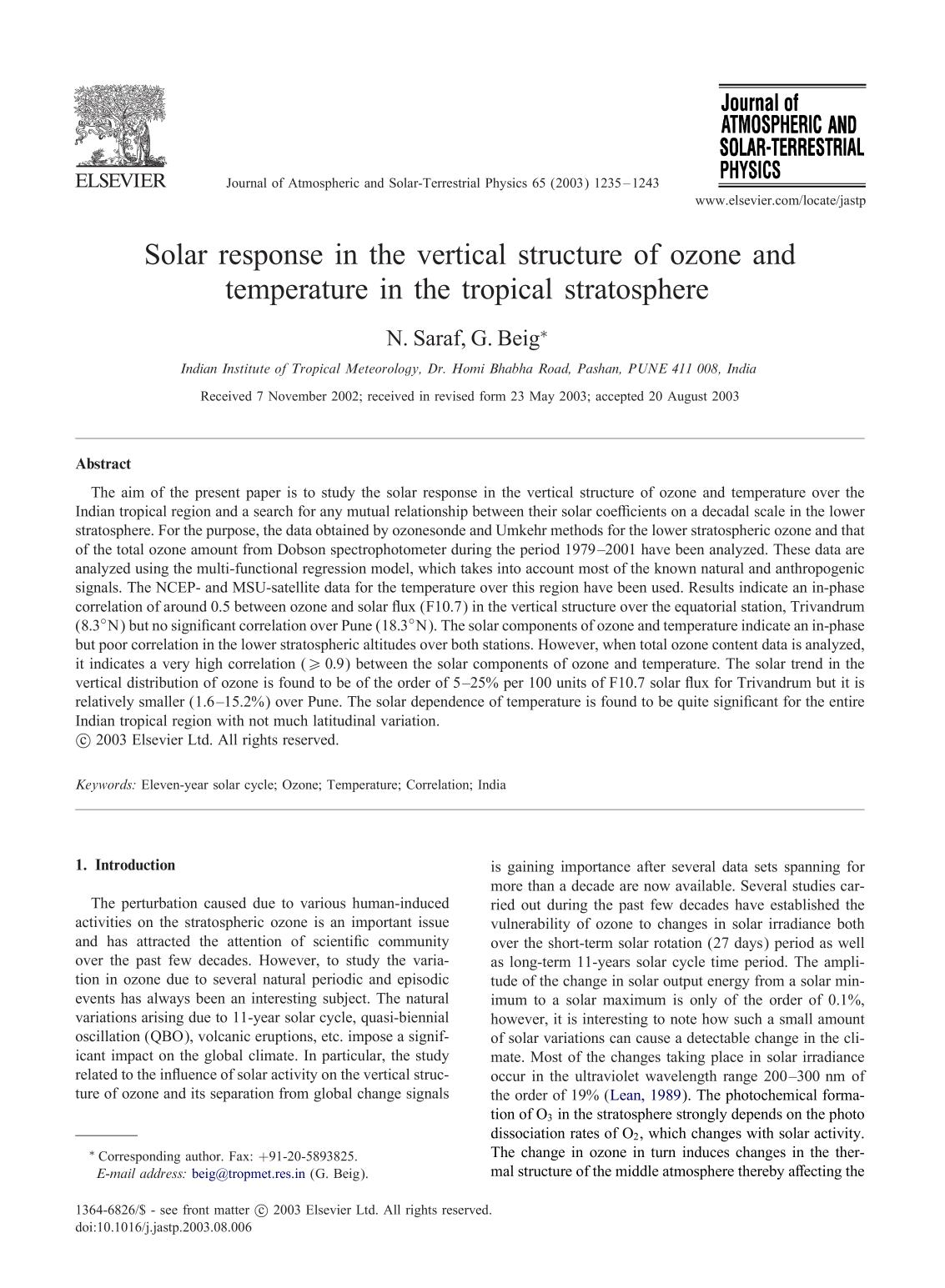 Kover buku Solar response in the vertical structure of ozone and temperature in the tropical stratosphere