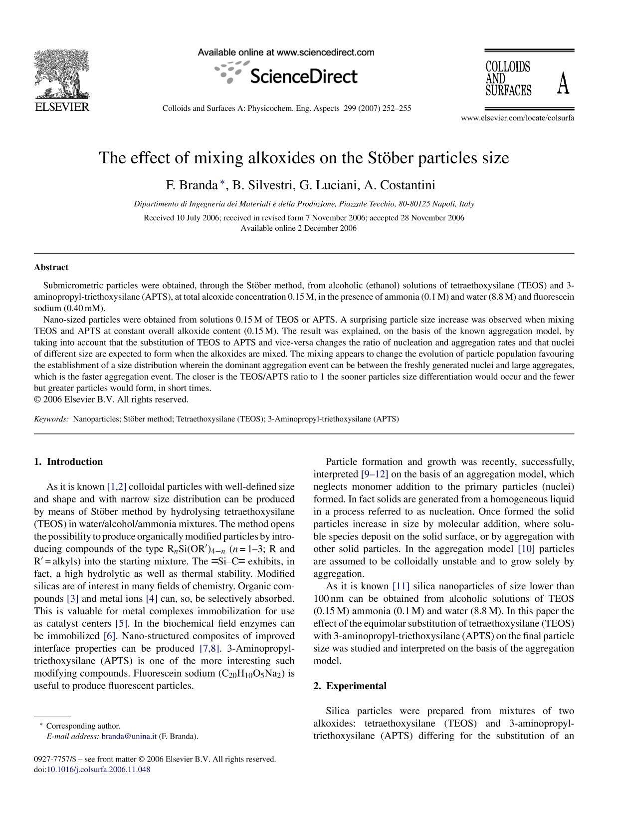 Обкладинка книги The effect of mixing alkoxides on the Stöber particles size