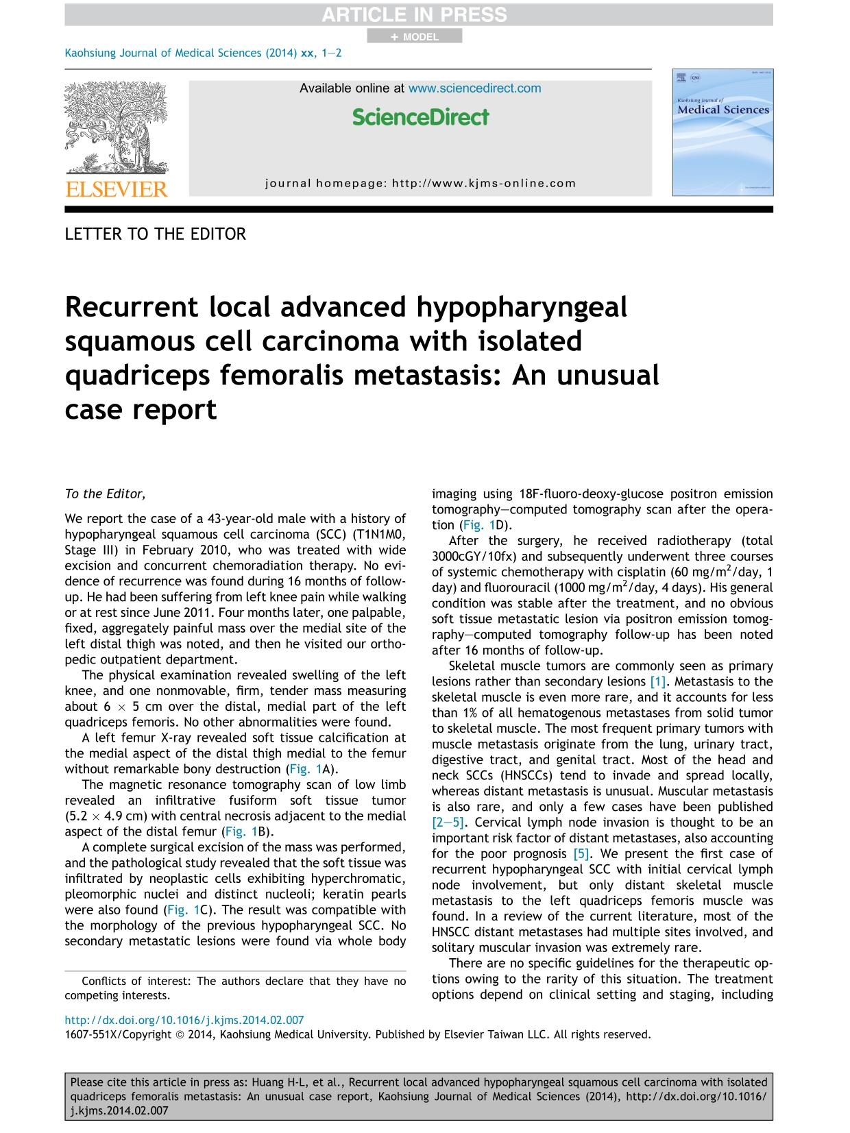 Book cover Recurrent local advanced hypopharyngeal squamous cell carcinoma with isolated quadriceps femoralis metastasis