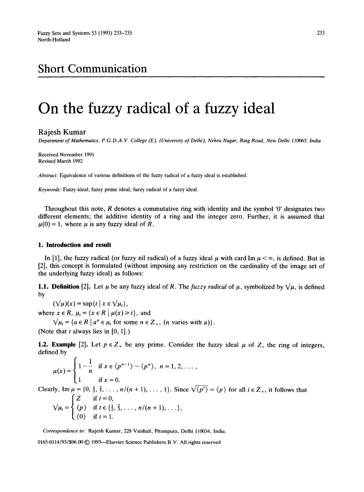 Book cover On the fuzzy radical of a fuzzy ideal