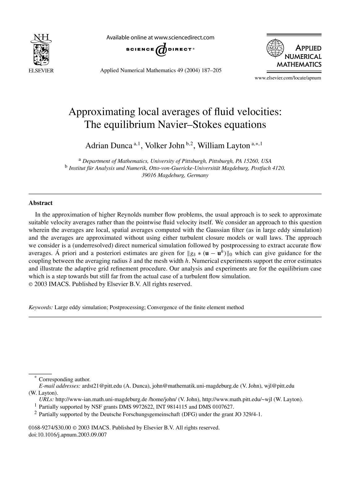 غلاف الكتاب Approximating local averages of fluid velocities: The equilibrium Navier–Stokes equations