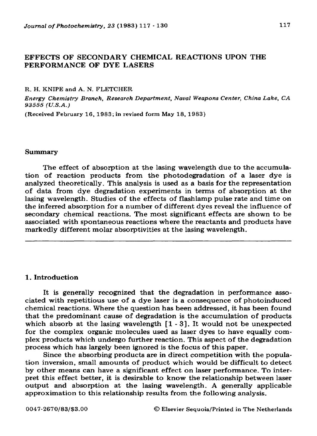 Book cover Effects of secondary chemical reactions upon the performance of dye lasers