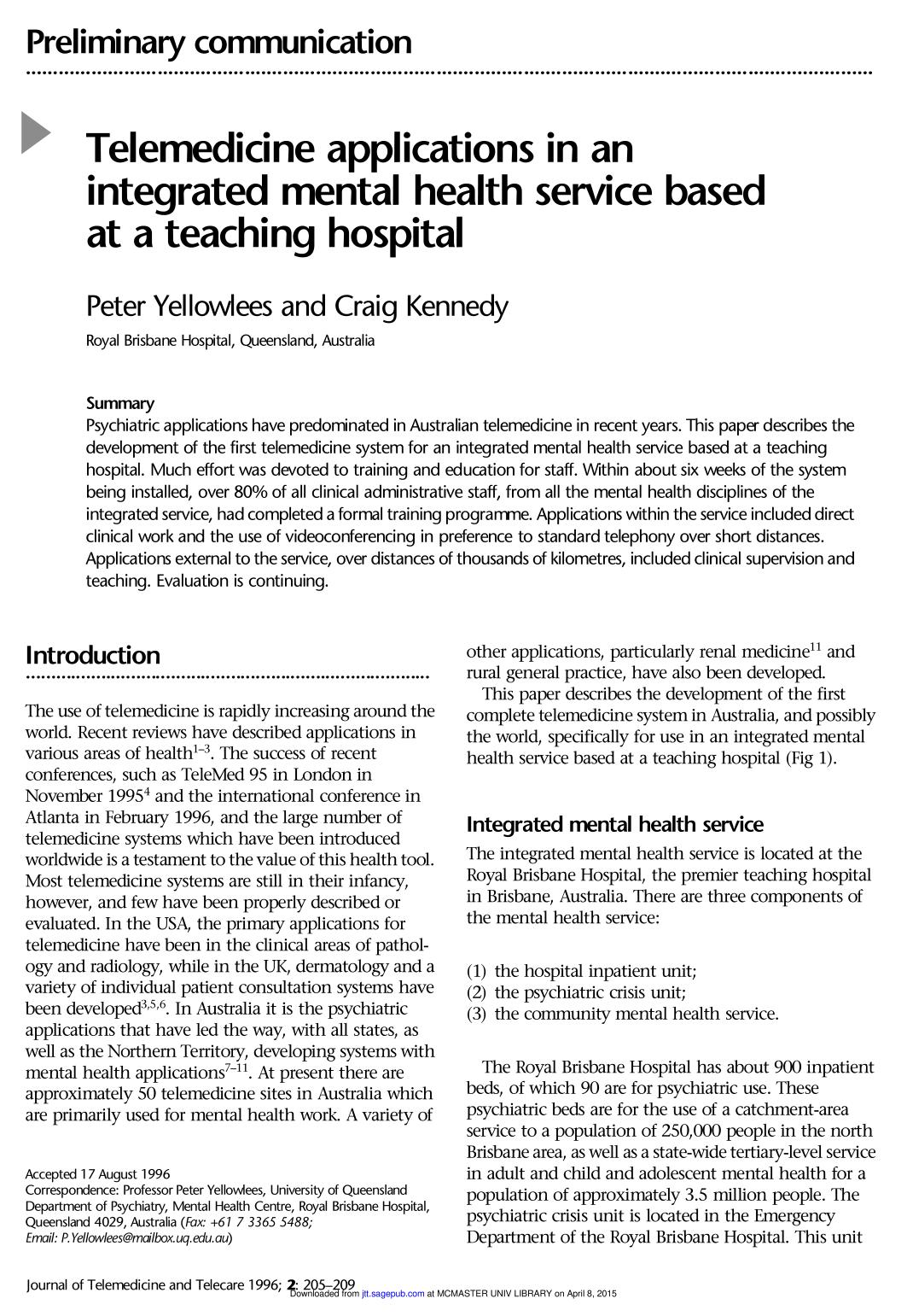Book cover Telemedicine applications in an integrated mental health service based at a teaching hospital