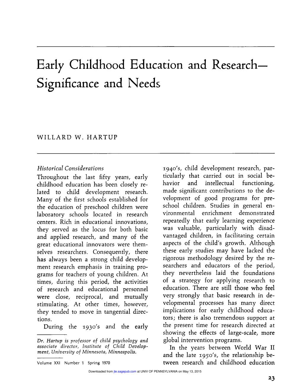 Book cover Early Childhood Education and Research-- Significance and Needs