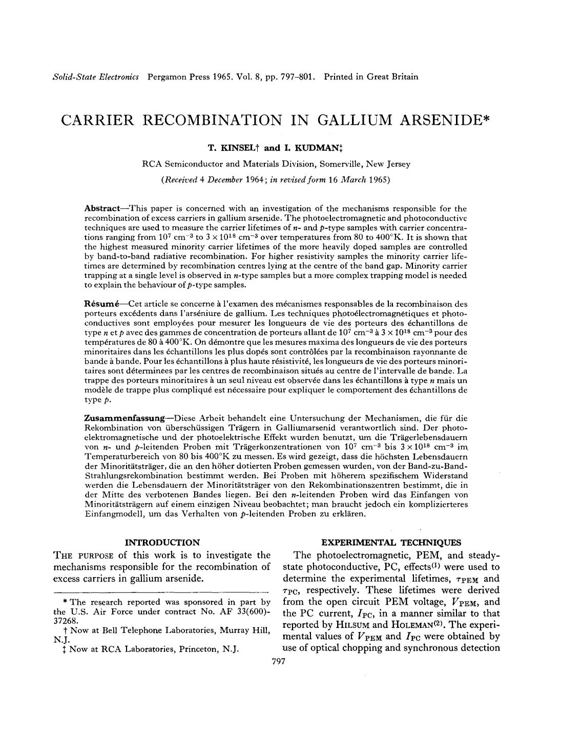 Book cover Carrier recombination in gallium arsenide
