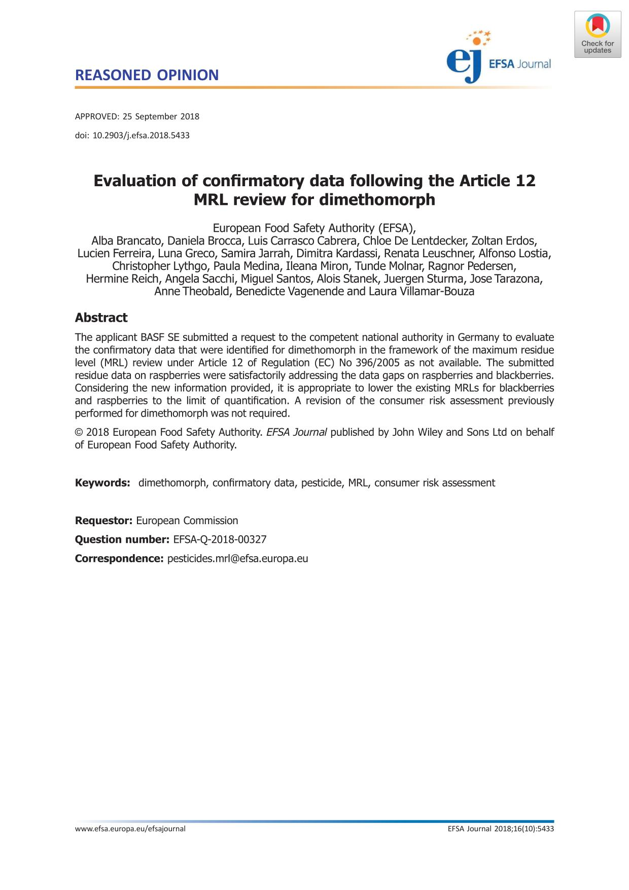 Portada del libro Evaluation of confirmatory data following the Article 12 MRL review for dimethomorph