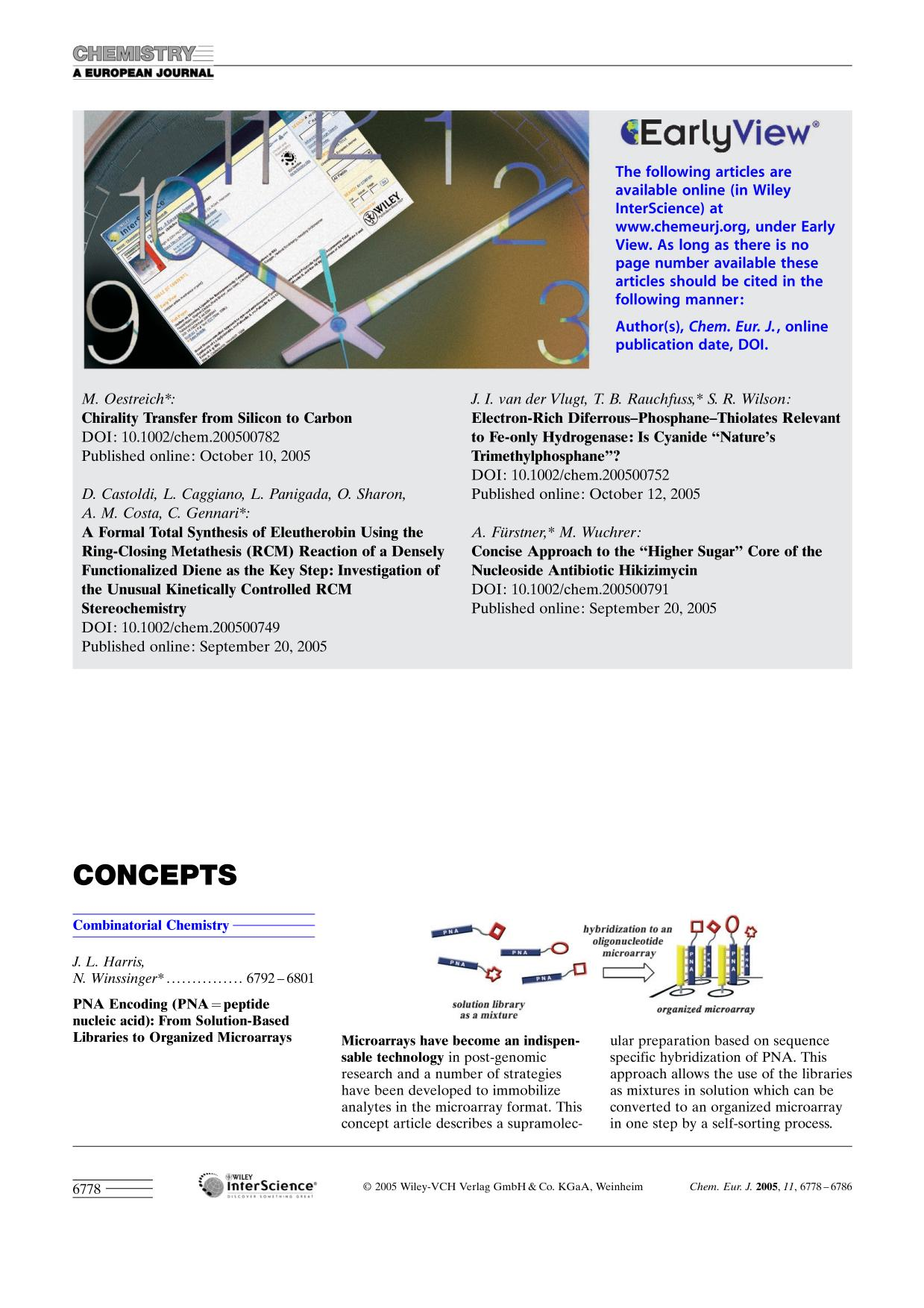Book cover Graphical Abstract: Chem. Eur. J. 23/2005