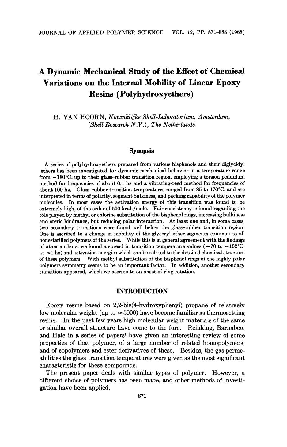Обложка книги A dynamic mechanical study of the effect of chemical variations on the internal mobility of linear epoxy resins (polyhydroxyethers)