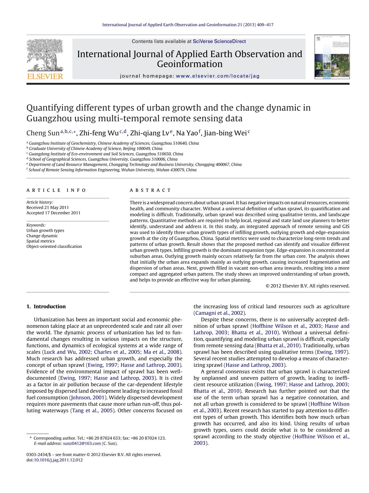 Book cover Quantifying different types of urban growth and the change dynamic in Guangzhou using multi-temporal remote sensing data
