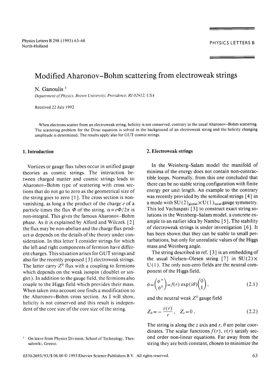 Book cover Modified Aharonov-Bohm scattering from electroweak strings